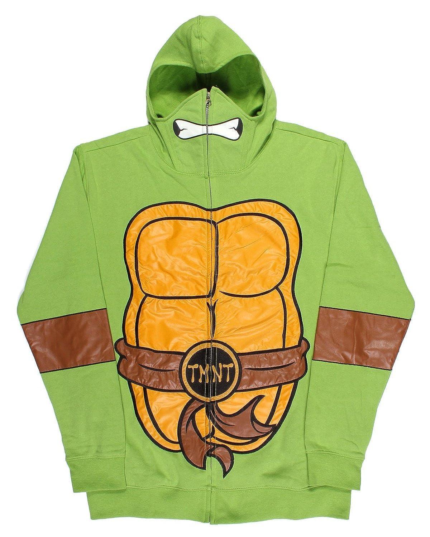 Teenage Mutant Ninja Turtles Men's Full Zip Costume Hoodie with Masks Mighty Fine