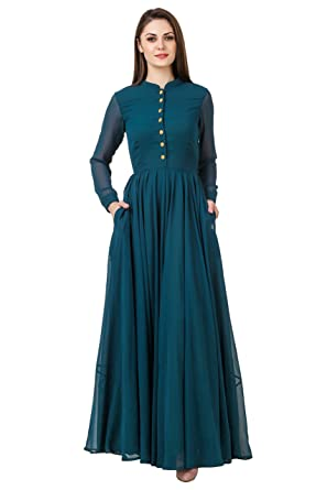e2f9a4111d93b2 Full Sleeves Button Green Maxi Gown: Amazon.in: Clothing & Accessories