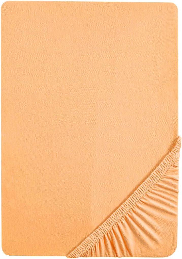 Biberna 77155/532/041 - Sábana bajera ajustable elástica, para una cama de 140 x 200 cm hasta 160 x 200 cm, color amarillo azafrán