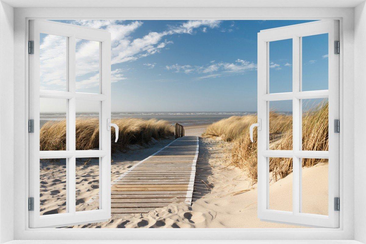 Wallario Acrylglasbild mit Fenster-Illusion: Motiv Auf dem Holzweg ...