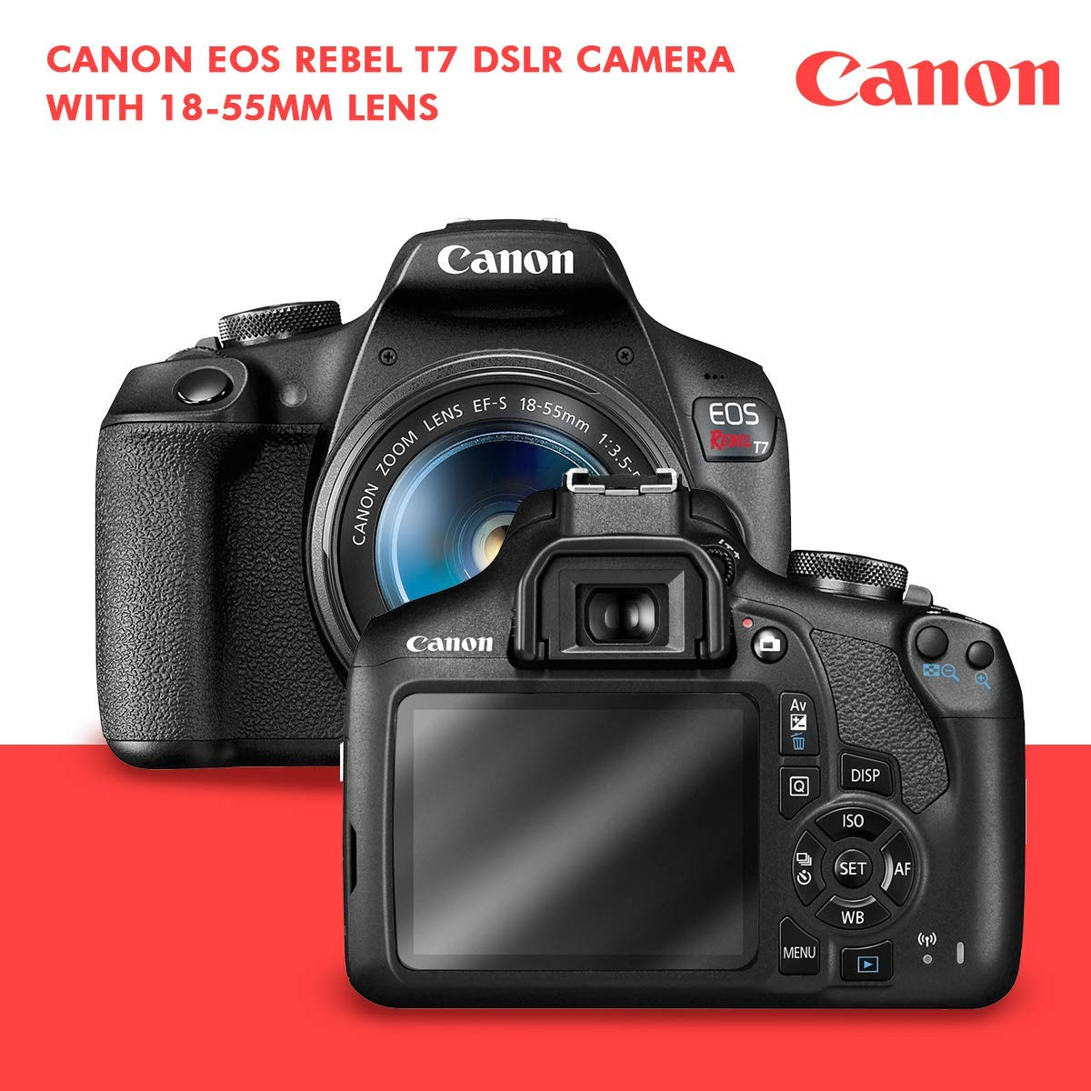 Canon T7 EOS Rebel DSLR Camera with EF-S 18-55mm f/3.5-5.6 is II Lens W/Telephoto & Wideangle Lens 3 Pc. Filter Kit + Tripod + Flash & 2 X 32GB SD Card and Basic Accessory Kit by Canon (Image #2)