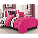 Modern 5 Piece Bedding Hot Pink, Black, Off-White Geometric Embroidered Pinch Pleat TWIN Comforter Set with accent pillows
