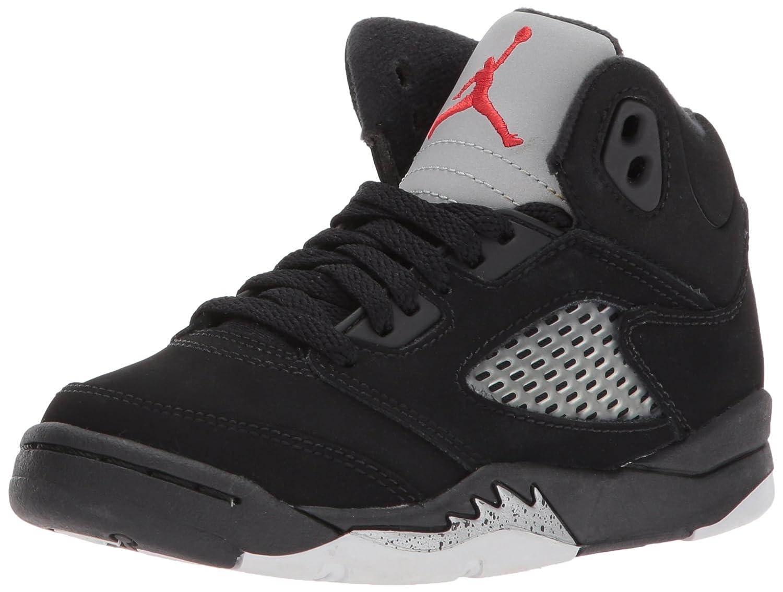 Nike Air Jordan 5 Retro (PS) Boys Basketball Shoes 440889-100 B01HP5N180 1Y|Black/Fire Red-mtllc Silver