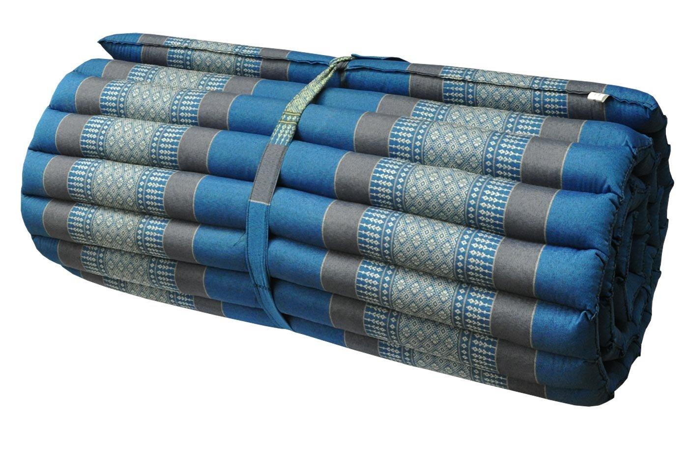 Thai mattress big size (75/180), blue/grey, relaxation, beach cushion, pool, meditation, yoga (82614) by Wilai GmbH