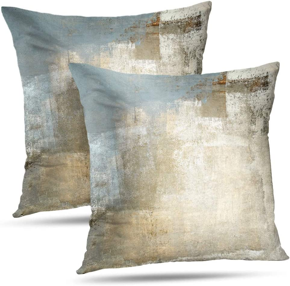 Alricc Grey and Beige Abstract Art Contemporary Pillow Cover, Modern Neutral Decorative Throw Pillows Cushion Cover for Bedroom Sofa Living Room 18 x 18 Inch Set of 2