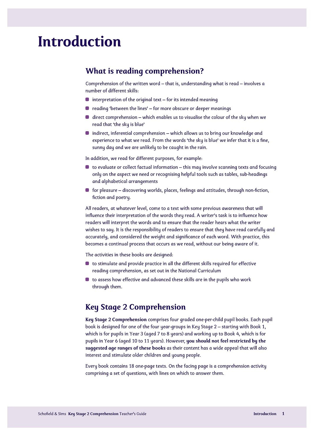 KS2 Comprehension Teacher's Guide: Years 3-6, Ages 7-11 (for the ...