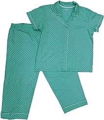 db965fc385 Womens Turquoise   White Polka Dot Cotton Button Top Pajamas Sleep Set