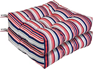 AAAAAcessories Outdoor Wicker Seat Chair Cushion Set of 2, 19 x 19 x 5 Inch, Red Stripes