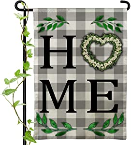 Cokosoxo Spring Home Garden Flag-Boxwood Love Wreath Sweet Welcome - Burlap Vertical Double Sided White Greay Buffalo Check Plaid Outdoor Decor Sign for Yard Lawn Patio 12x18 inch