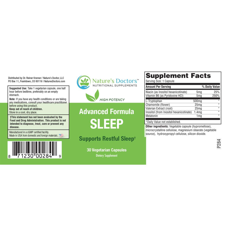 Natures Doctors Natural Sleep Aid with Melatonin & Valerian– Deep Sleep Supplement, Insomnia Relief,...