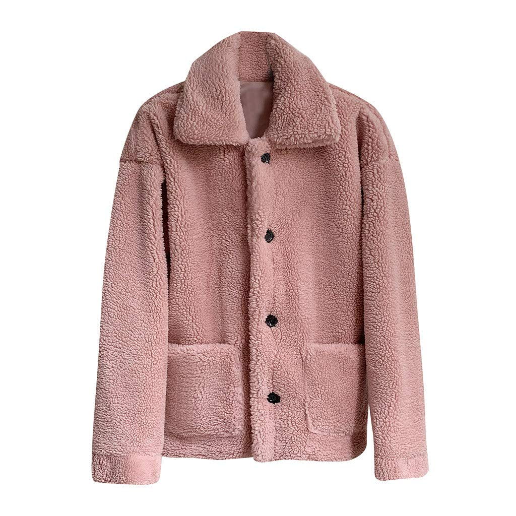 Coat Tops,Women Fashion Autumn and Winter Solid Casual Loose Short Windbreaker Lamb Coat,Maternity,Solid,Leather & Faux Leather Pink by Chenchen ltd