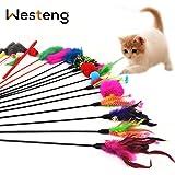 Westeng Lot de 4 plumeaux avec clochettes Jouet à Plume pour chat Couleur aléatoire