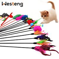 Westeng 4pcs Classic Fibras Sintéticas o Artificiales Funny Pet Cat Play Sticks Varilla gato juguete con Bell (color al azar)