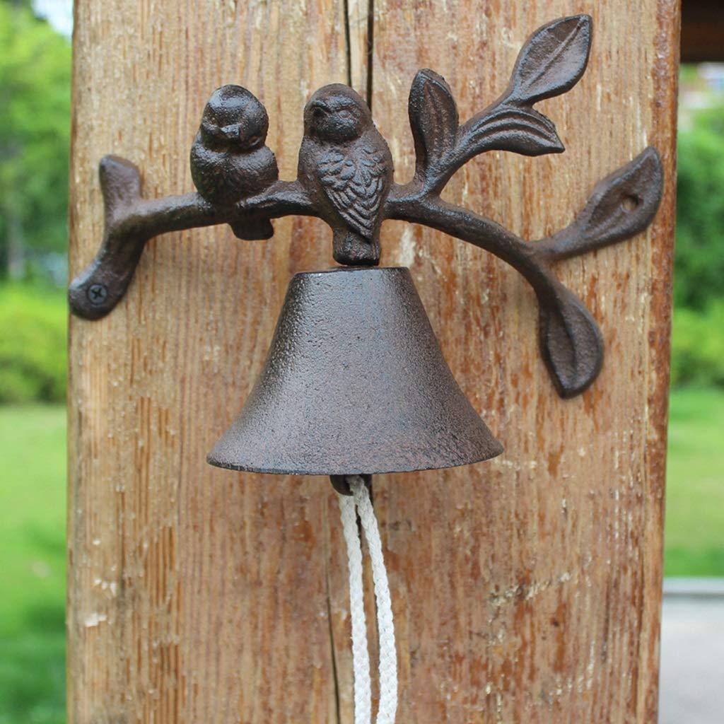 LBYMYB Bird Shape Doorbell Nordic Garden Wrought Iron Doorbell Cast Iron Hand Bell Decorative Garden Wind Chime 24x12x26cm doorbell