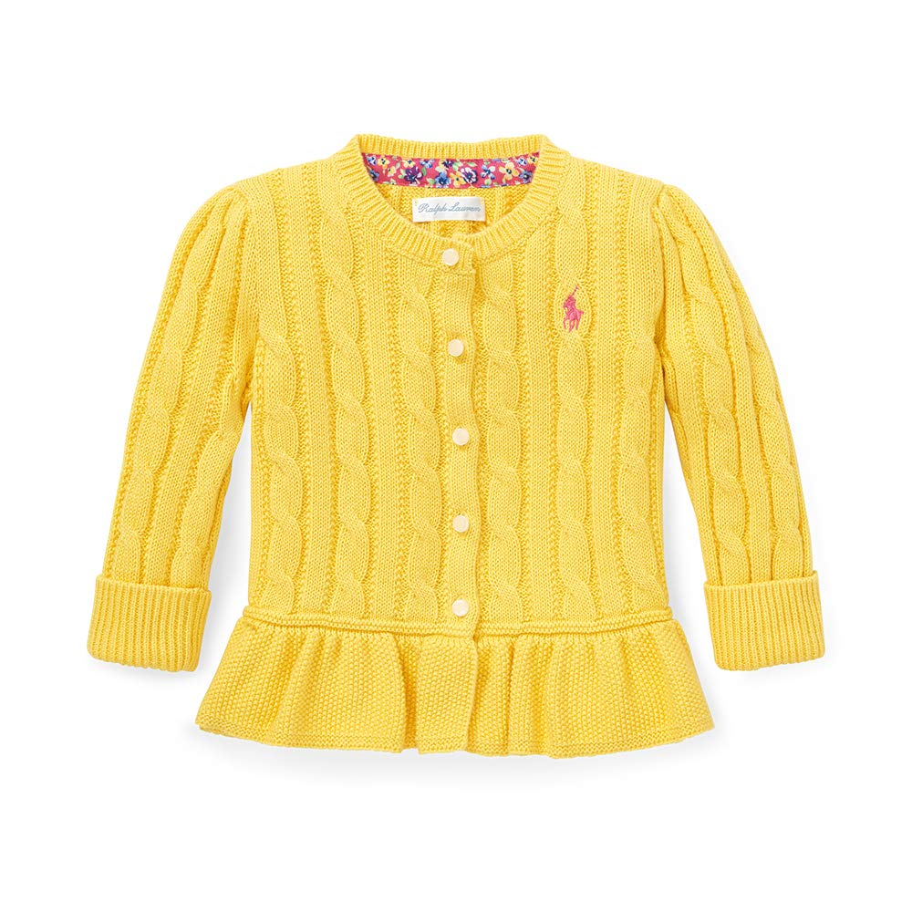 Polo Ralph Lauren Baby Girl's Cotton Peplum Cardigan, 24 Months, Yellow by Polo Ralph Lauren