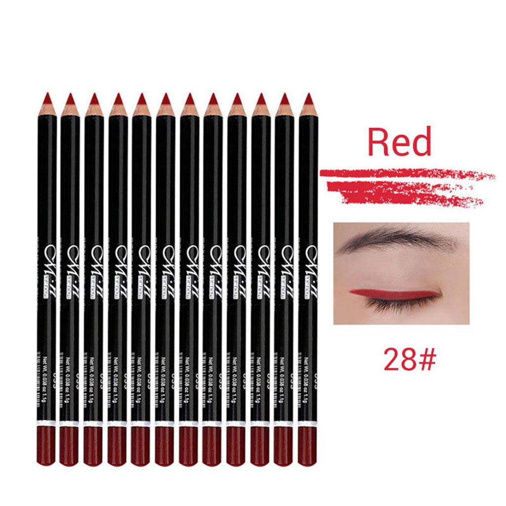MagiDeal 12 Piece Long Lasting Eye Lip Shadow Liner Pencil Kit, Waterproof Eye Lip Cosmetic Makeup Tool Beauty - White, as described non-brand
