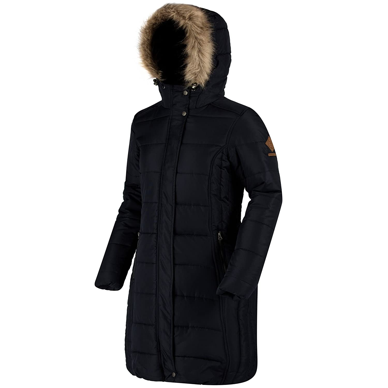 Regatta Great Outdoors Womens/Ladies Fermina Long Length Quilted Parka Jacket (8) (Black) at Amazon Womens Coats Shop