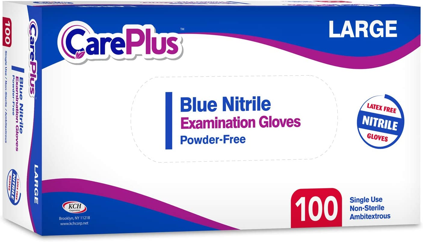 Non Sterile Medical Grade Examination Nitrile Blue Gloves 200 Count Medium Size Powder Allergy and Latex Free Rip Resistant 3 Mill Single Use 2 Pack by Care Plus