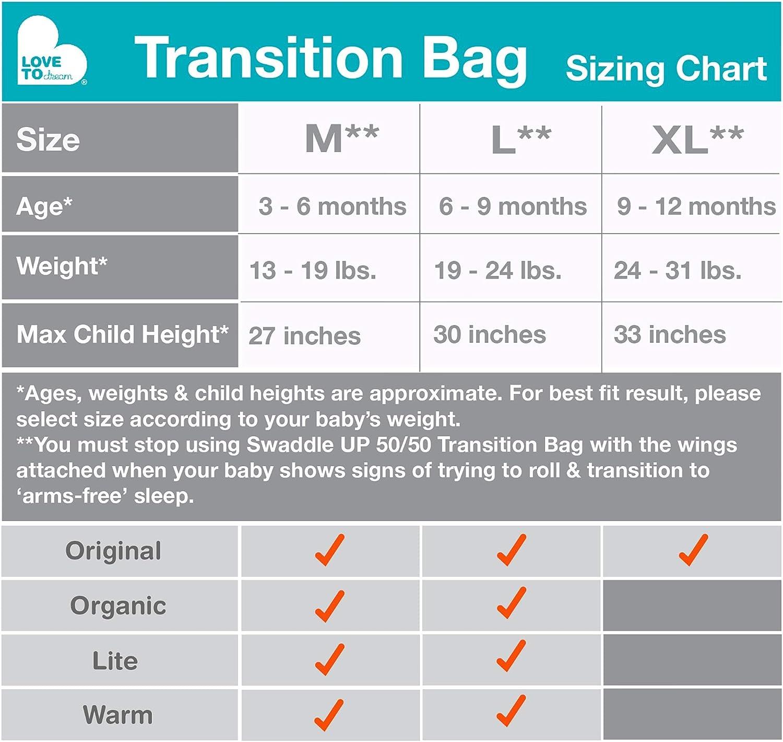 Grey 1.0 TOG Medium 6kg-8.5kg Love To Dream Swaddle UP 50//50 Transition Bag