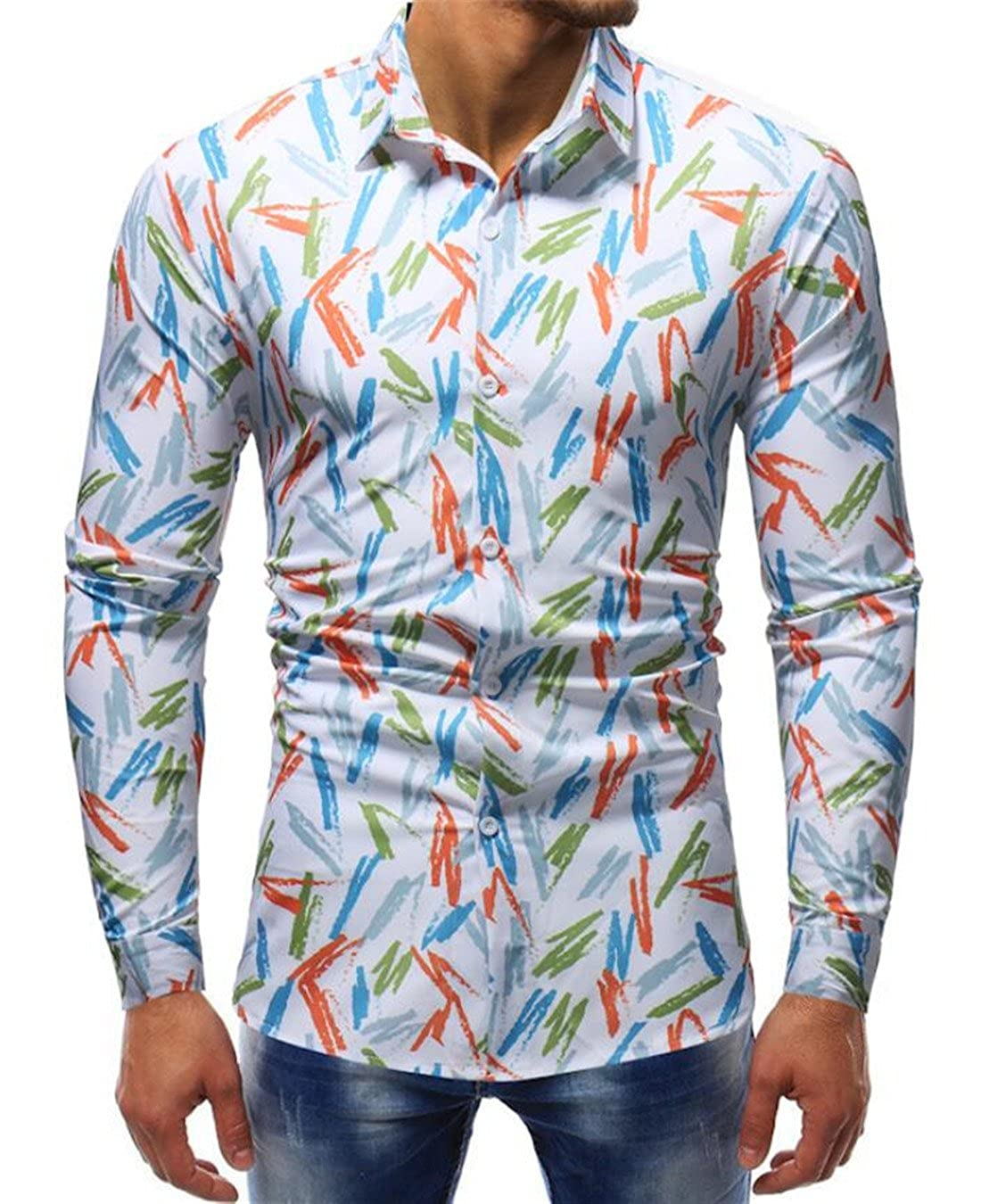 UUYUK Men Casual Slim Fit Floral Long Sleeve Button Down Shirt