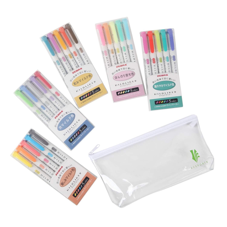 ZEBRA MILDLINER Highlighter pen markers, 5-Pack (WKT7-5C / WKT7-5C-NC / WKT7-5C-RC / WKT7-N-5C / WKT7-5C-HC) 25 Color Full Range Set with Original vinyl pen case by ZEBRA MILDLINER