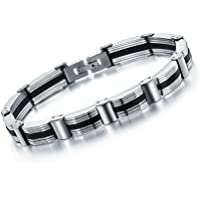 Yellow Chimes Black-Silver Metal Bracelet For Men And Boys