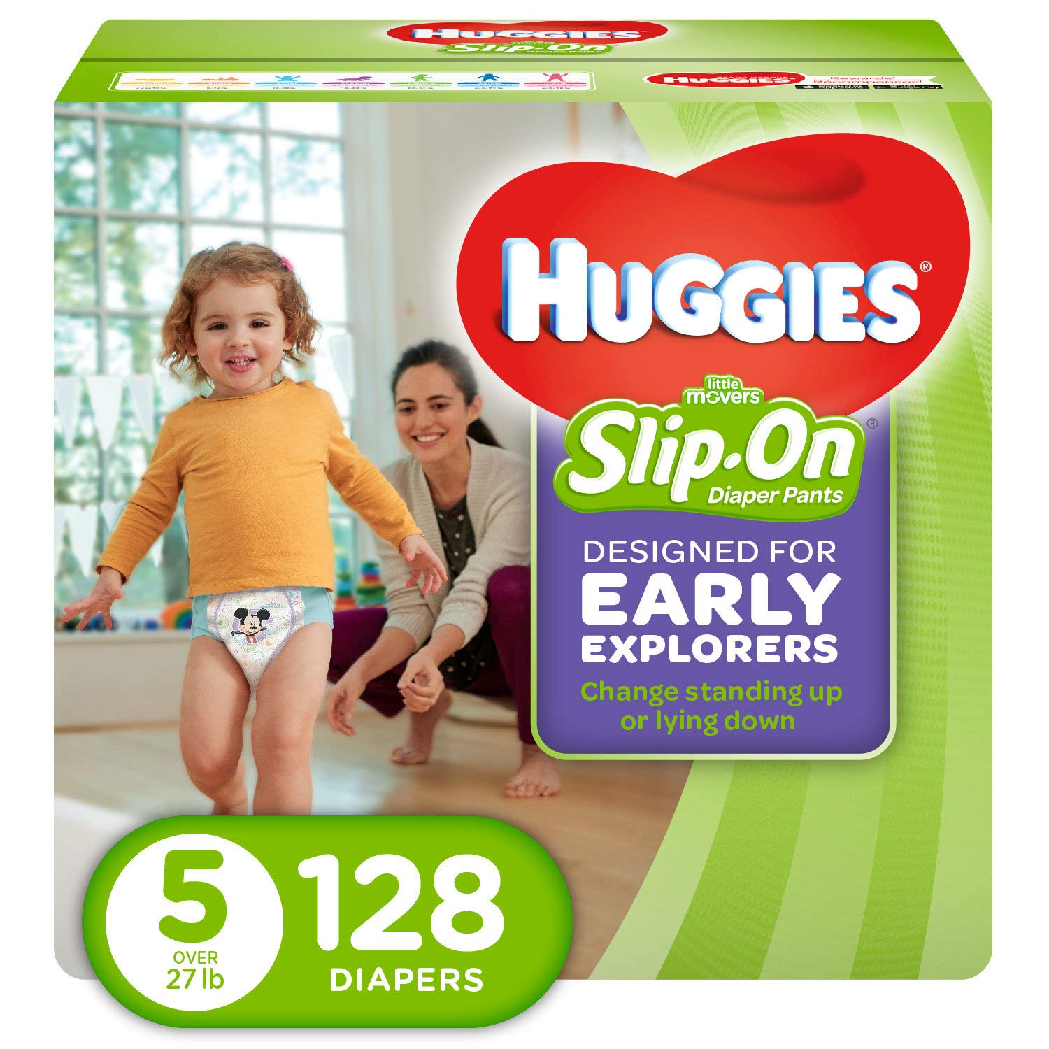 HUGGIES Little Movers Slip On Diaper Pants, Size 5, 128 Count, ECONOMY PLUS
