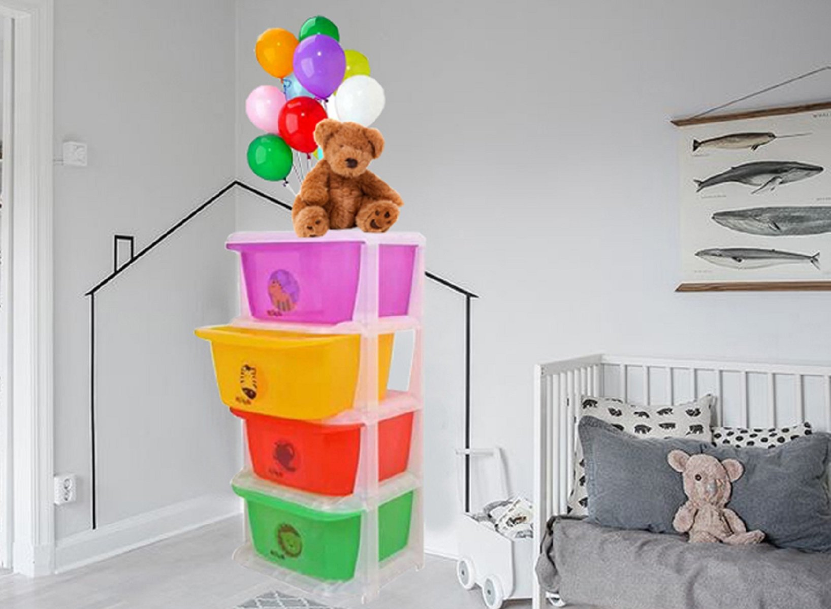 Kuber Industries Storage Drawers Basket for Kitchen/Office/Children/Toy With 4 Drawer in Moduler Design (Multiple usages) Basket009