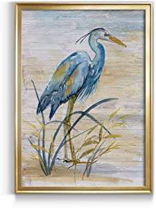 Neutral Color Wall Art, Wall Décor Canvas, Beaches, Floral, Animals, Southwestern, & Vintage Styles, Ready to Hang -Blue Heron I - Gold Frame 30X42