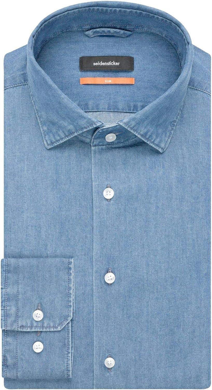 Seidensticker Slim Langarm Mit Kent Kragen Soft Denim Smart Business Camisa Vaquera para Hombre