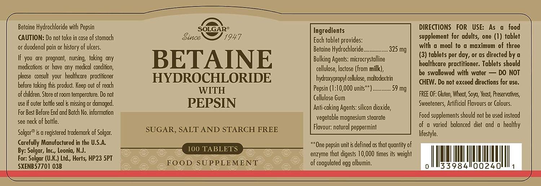 Solgar Betaína Clorhidrato con Pepsina Comprimidos - Envase de 100: Amazon.es: Salud y cuidado personal