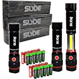 3 pack Nebo Slyde+ 300 Lumen LED flashlight/Worklight 6156 and 12 X EdisonBright AAA alkaline batteries bundle