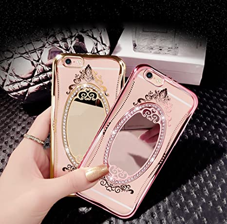 6ec1e545f6e para iPhone 6 Plus Cristal Funda de espejo, Vandot Ultrafino Slim Plateado  Cubierta del parachoques Bling de Silicona TPU Diamante Caso Trasero  Protector ...