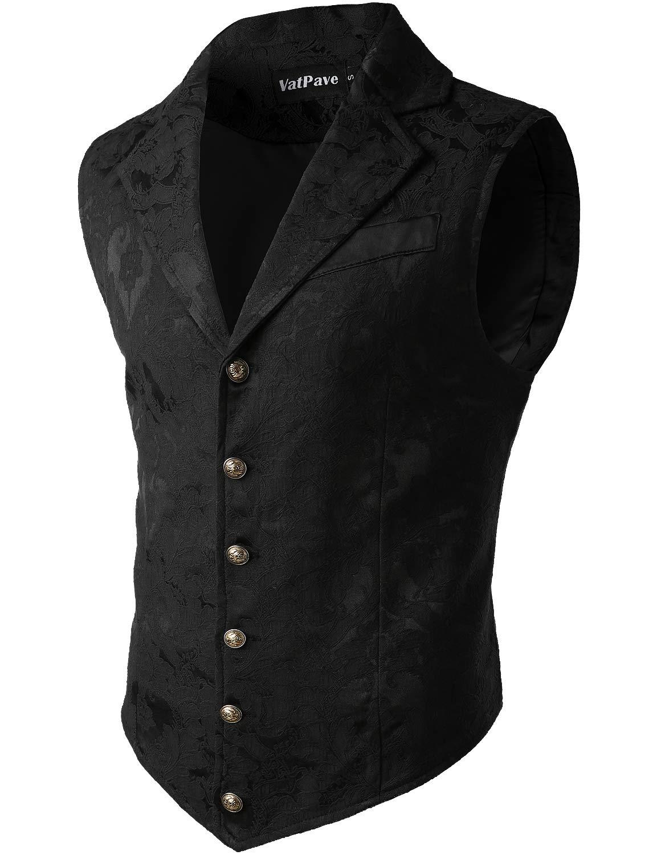 VATPAVE Mens Victorian Suit Vest Steampunk Gothic Waistcoat Medium SU14 Black by VATPAVE