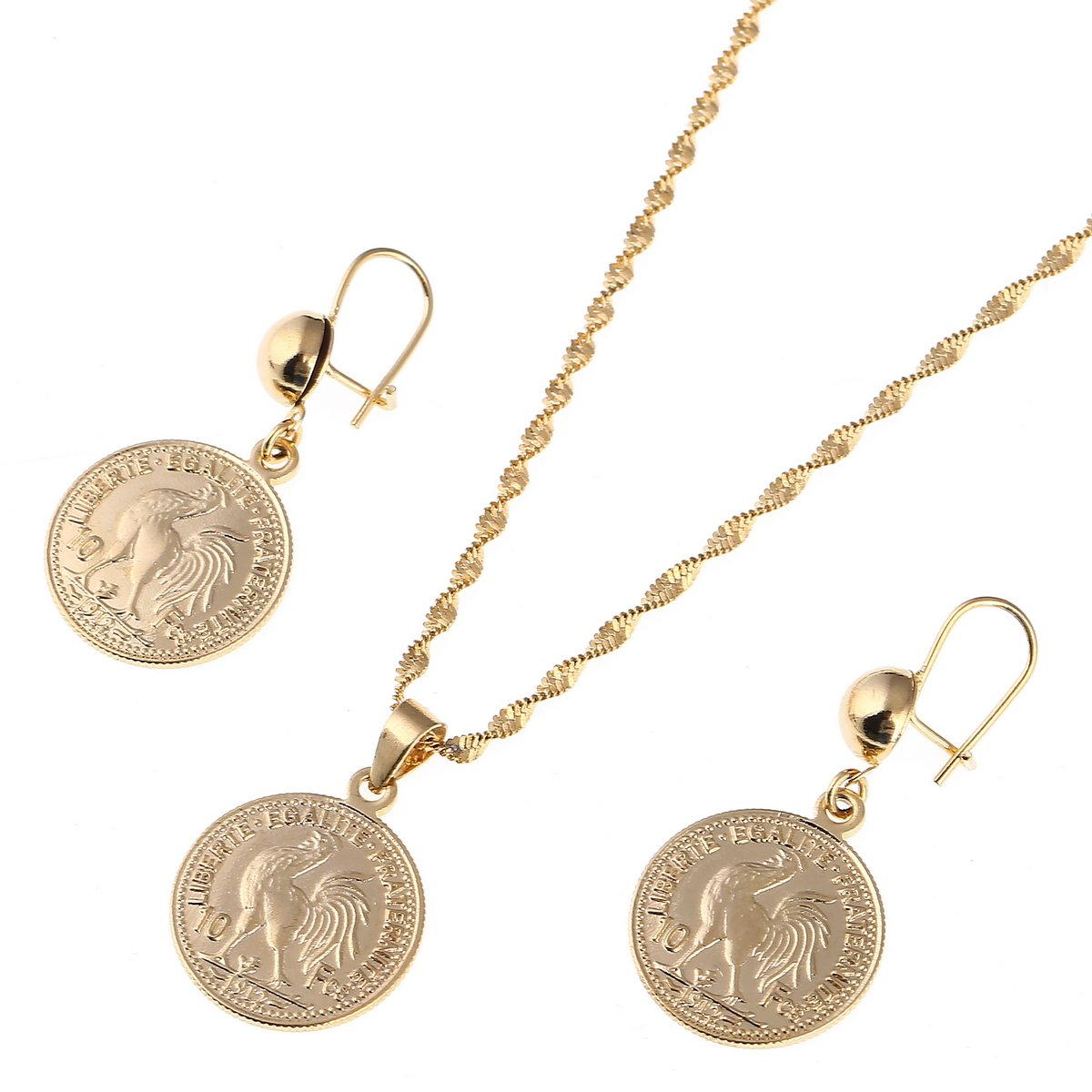 French Coin Pendant Necklaces Earring Set Coq gaulois Jewelry Set Symbol of France Jewelry CB Gold Jewelry G1157