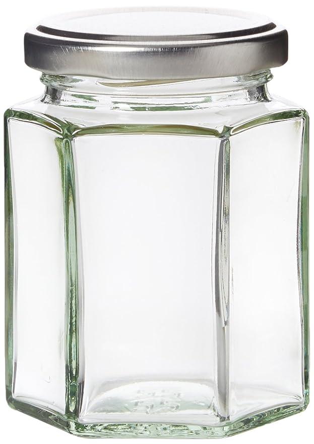 mit H1-Etiketten im Retro-Stil sechseckig 24er-Pack Nutleys Einmachgl/äser Marmeladengl/äser mit silbernem Deckel 190 ml