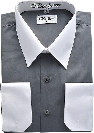 Berlioni Camisa de Vestido de Dos Tonos para Hombres Negro ...