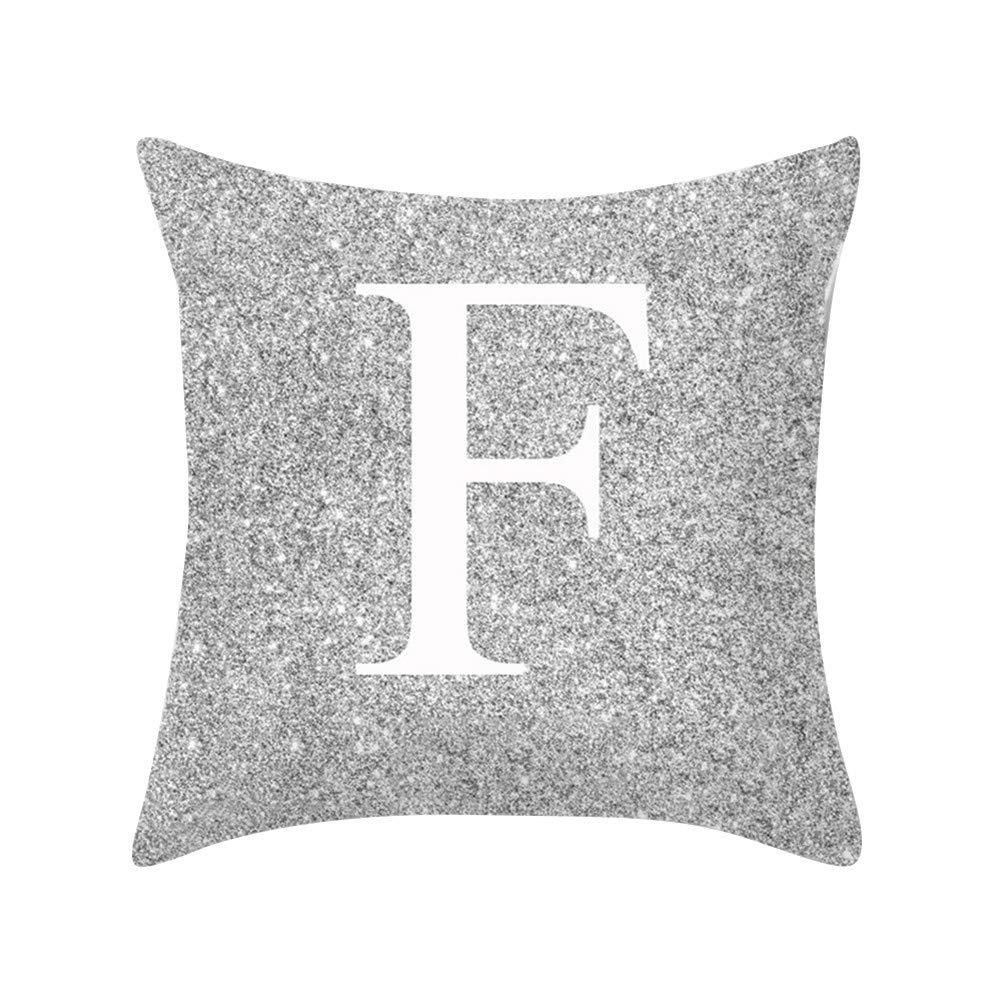 Decorativa A Argento Per divano o letto Quanjucheer Con lettere dellalfabeto Federa Comoda