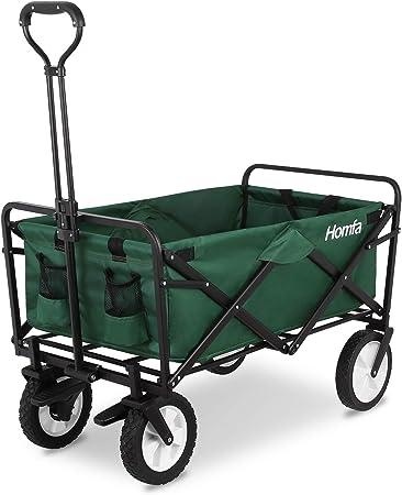 Homfa Carro Playa Plegable Carro para Jardín Carro de Transporte con 4 Ruedas y Frenos 90x52x57.5cm (Verde Oscuro): Amazon.es: Hogar
