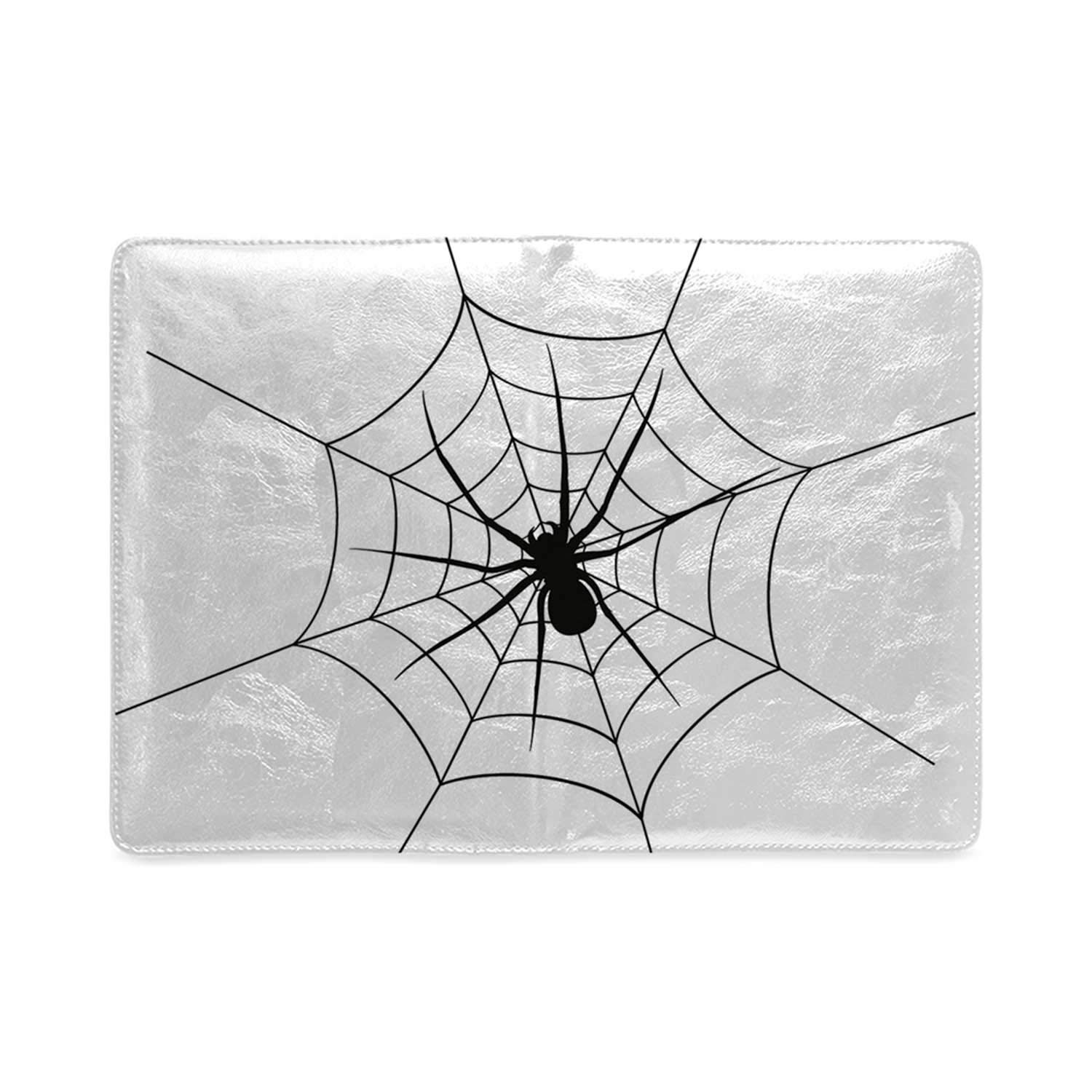 Spider Web Classic Notebook,Black Spooky Spider Weighs on a Web Creepy Crawly Organism Tangled Monochrome Opening Ceremony by YOLIYANA