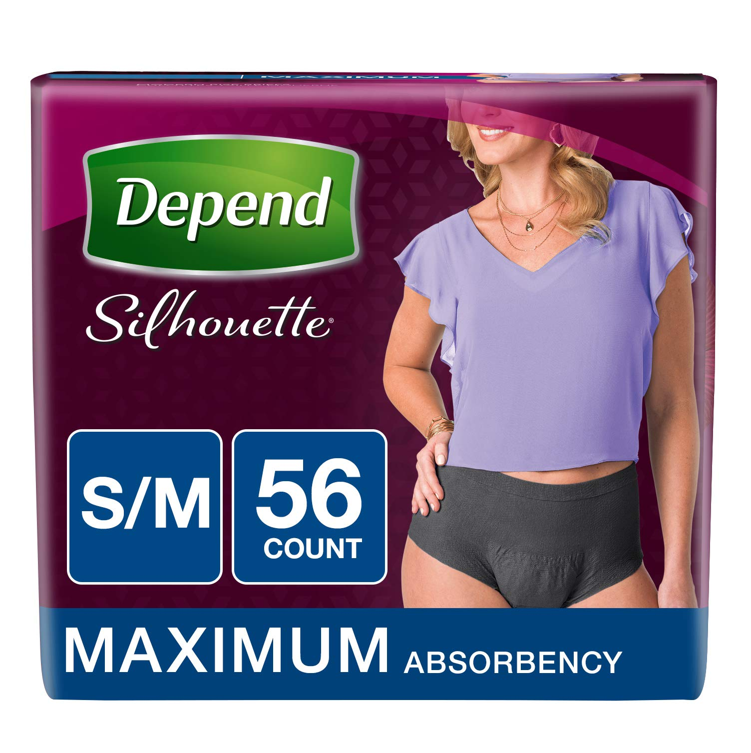 Depend Silhouette Incontinence Underwear for Women, Maximum Absorbency, S/M, Black, 56 Count by Depend