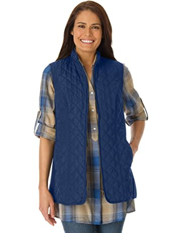 61a3a5e1c5b Woman Within Women s Plus Size Zip-Front Quilted Vest