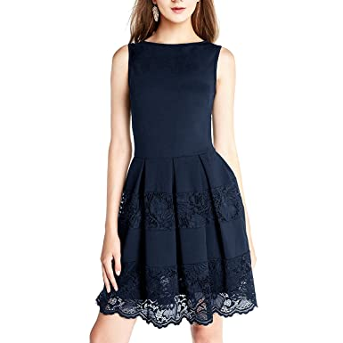 Dressystar DS0011 Sleeveless Cocktail Party Dress Floral Lace Skirt See-Through S Navy