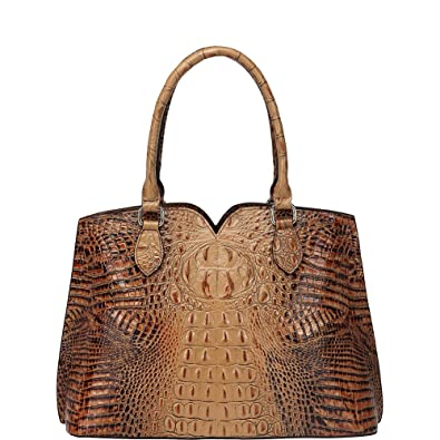 7889a5762603 Amazon.com  Vicenzo Leather Maya Croc Embossed Leather Tote Handbag (Light  Brown)  Shoes
