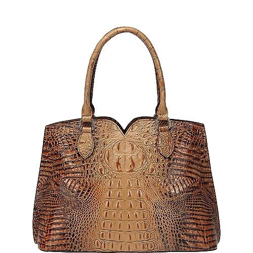 1a2b2145efd Amazon.com: Vicenzo Leather Maya Croc Embossed Leather Tote Handbag ...