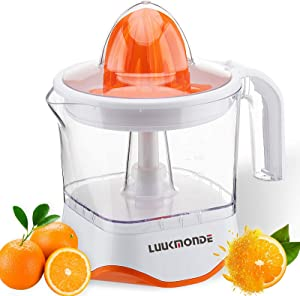 Electric Citrus Juicer with pulp control filter and dust proof cover - Orange squeezer with two size cones and Professional Motor - Electric juicer extractor for Grapefruit Orange Lemon by LUUKMONDE