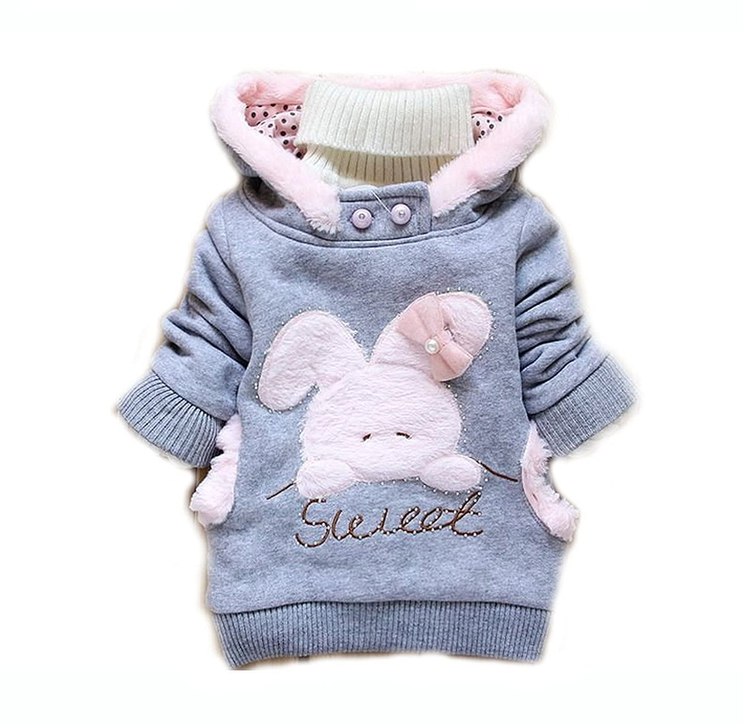 8a65b6a05 Amazon.com  Baby Girls Cute Rabbit Fall Winter Hoodie Jacket ...