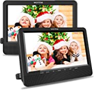 WONNIE 10.5'' Car Dual DVD Player Portable Kids Headrest CD Players, Two Mounting Brackets Built-in 5 Hours Rechargeable Bat