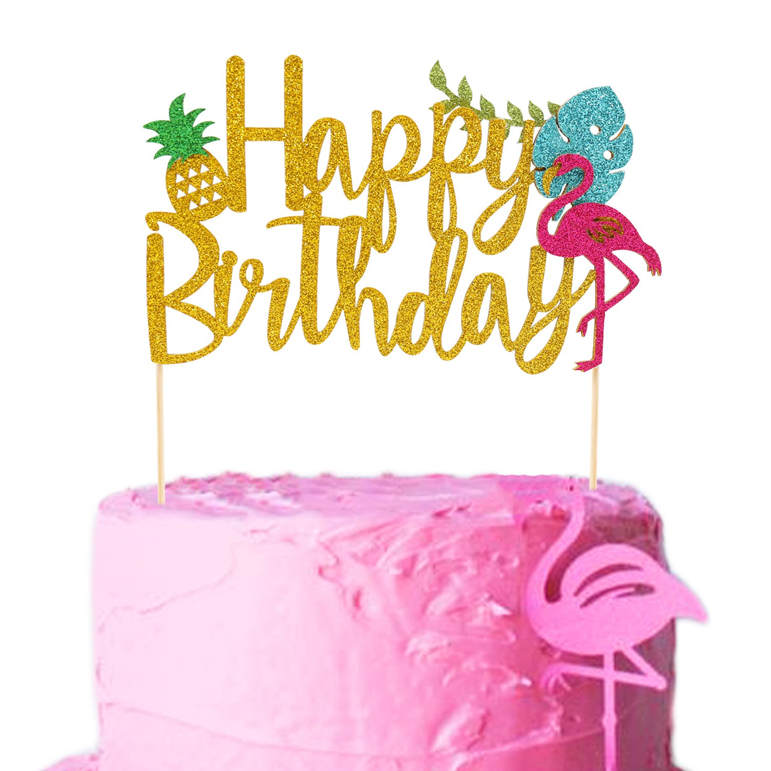 Flamingo Pineapple Cake Toppers Happy birthday Cake picks Tropical Hawaiian Luau Themed Glitter Party Supplies Decorations