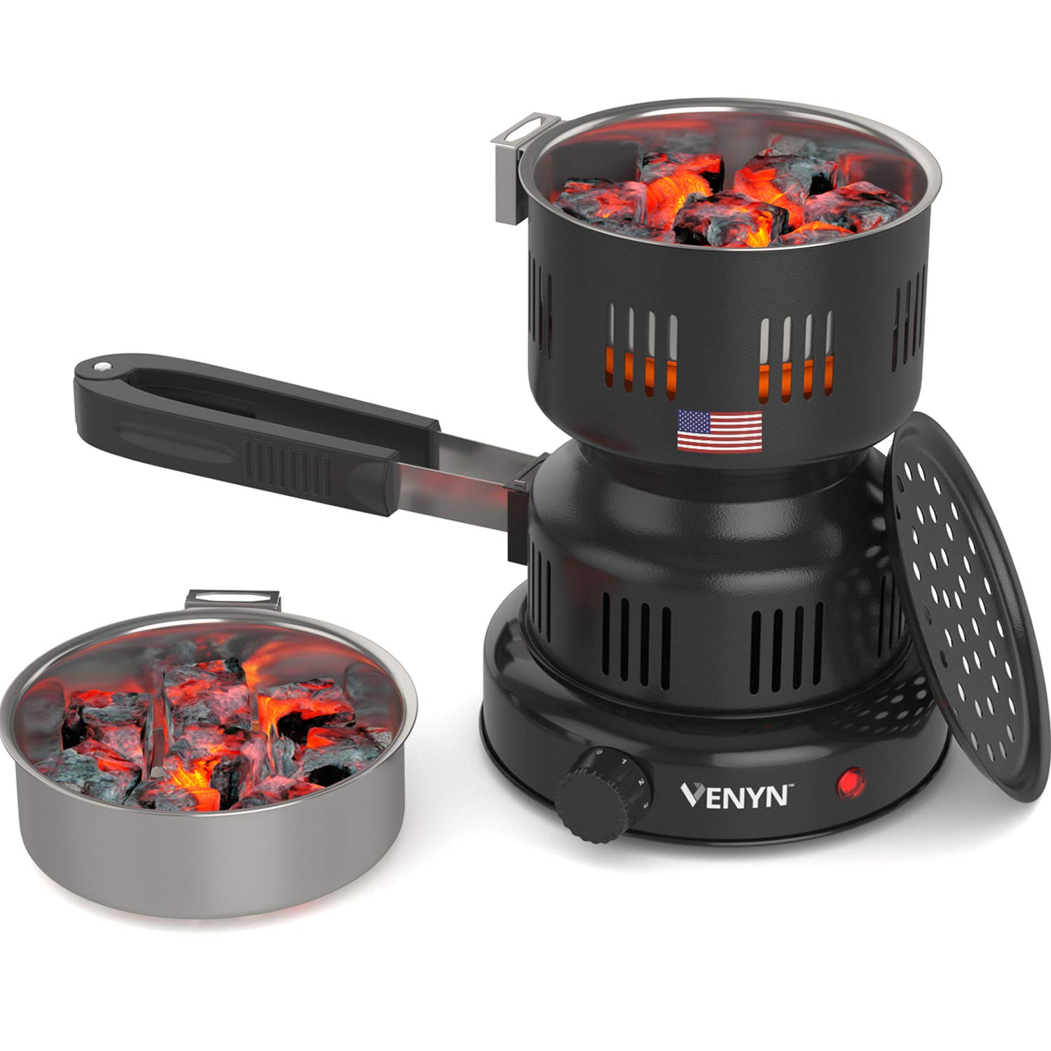 VENYN Multipurpose Charcoal Burner with Starter for Hookah, Shisha, Nargila, BBQ Fire - Porcelain Coating - Smart Heat Control - Includes Pair of Free Tongs by VENYN
